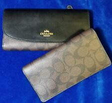 Coach Black Leather Brown Signature PVC Checkbook Wallet F57319 New NWT $250