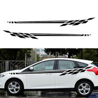 Pair Auto Car Vinyl Side Body Door Racing Graphics Decal Sticker Car Long Stripe