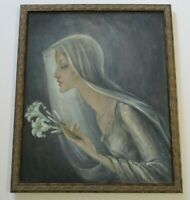 PANTUHOFF?   UNSIGNED 1950'S OIL PAINTING SURREAL MODERNIST PORTRAIT MADONNA