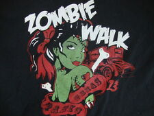 Zombie Walk Sexy Halloween Girl Paris Texas Metal Black T Shirt Men's Size L