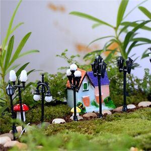 8pcs Mini Street Lights Set Fairy Garden Terrarium Bonsai Dollhouse Model Train