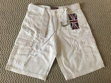 NWT Men's Revolution Milk White Cotton Cargo Pocket Shorts w/ Belt SIZES 30-40