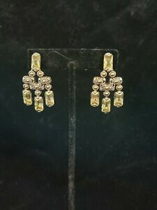 John Hardy Peridot Chandelier Drop Earrings Sterling W 18k YG Accents