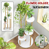 Wood Plant Pot Holder White Marble Flower Display Shelf Indoor Outdoor