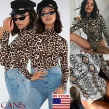 Women Ladies Denim Playsuit Animal Leopard Print Belted All In One Shorts Tops