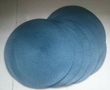 Set of 6 Round Woven Navy-Blue Dining Room Table Setting Place Large Mats 38cm