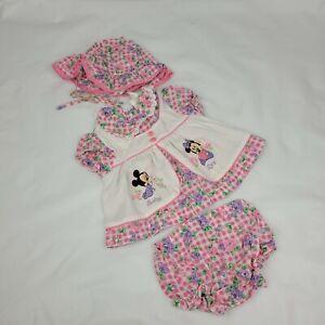 Disney Baby VTG Gingham Floral Minnie Mouse Dress Pants & Hat Set 24 Months
