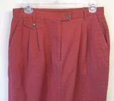 ORVIS Rust Dark Red 100% Cotton A-Line Slit Front Side Pockets Skirt Size 10 EUC