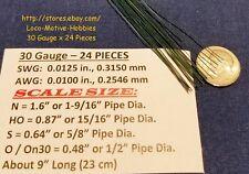"LMH WIRE N HO S O On30 30 Ga .012"" .315 mm GRAB IRON Brake Rigging Piping 24 Pcs"