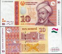 TAJIKISTAN 10 SOMONI 1999 P 16 UNC