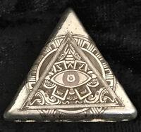 """1 Troy Oz .999 Fine Silver MK BarZ """"All Seeing Eye!"""" Homage Laser Art Triangle"""