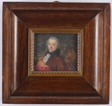 """""""Portrait of a young aristocrat in a brown coat"""", fine French miniature"""