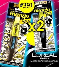 2x Loreal Miss Manga Rock Mascara 391 Black Waterproof (set of 2)