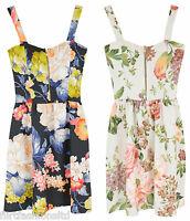 Womens Ladies Mini Shift Skater Dress Floral Print Bodycon Dresses Zip Strappy