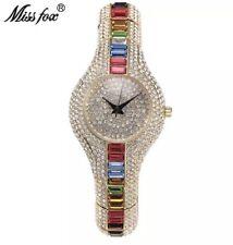 Ladies Diamond Watch 18k Gold Plated Brand New Very Posh Ladies Designer Gift