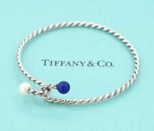 TIFFANY&Co Lapis Lazuli Pearl Twist Bracelet Silver 925 Bangle v1132