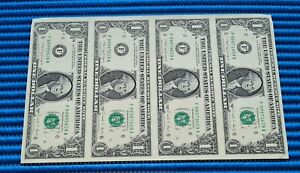 2X Uncut 1988 A 4X US$1 Federal Reserve Note Uncut Bill Dollar Banknote Currency
