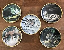 """Guy Coheleach's Royal Cats Plate Collection 5 Decorative Plates 1994 Signed 8"""""""