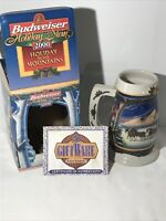 BUDWEISER 2000 Holiday Christmas Stein Beer Mug Holiday in the Mountains Box
