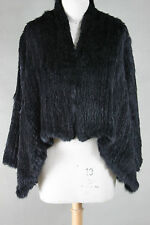 NEW 100% RABBIT FUR SWING LONG SLEEVED JACKET BLACK Free Size