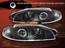 1997 1998 1999 Mitsubishi Eclipse Projector Headlights Black One Halo