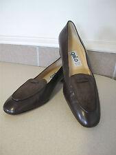 Women's GALO brown shoes leather pumps hand sz 39 EU sz 8 US Italy
