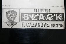 Pub Ad 1922 Rhum Black CAZANOVE Bordeaux