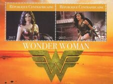 WONDER WOMAN MOVIE GAL GADOT CENTRAFRICAINE 2017 MNH STAMP SHEETLET