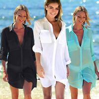 Womens Swimsuit Bikini Cover Up Robe Tunic Shirt V-Neck Summer Soli Beach Dress