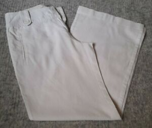 Ladies New Look Wide Leg White Linen Trousers Size 10