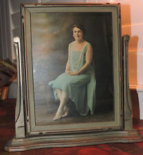 Vintage ART DECO Swivel Frame FLAPPER Woman in BLUE & Pearls Photo c1920-30s