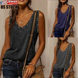 US Womens Sequin V Neck Sleeveless Vest Top Ladies Summer Casual Loose Tee Shirt