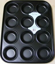 METAL NON STICK BUN TRAY 12 Cup YORKSHIRE PUDDING PIE OVEN TRAY TIN NEW