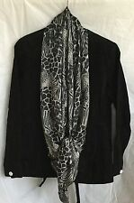Chi by Carlos Falchi Genuine Black Suede Jacket with Attached  Scarf M 8-10 NEW
