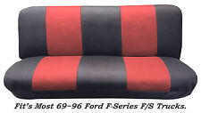 Mesh Blk/Red Full Size Bench Seat Cover Fits Most 69-96 Ford F-Series F/STrucks.