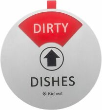 Kichwit Dishwasher Magnet Clean Dirty Sign Indicator, Works Silver, 4, Round