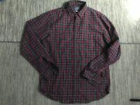 J Crew Mens Medium Flannel Button Up Shirt Long Sleeve Plaid Burgandy Pockets