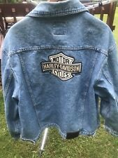 Harley Davidson Biker Blues Denim Jean Jacket Bar Shield Large Vintage Men's XL