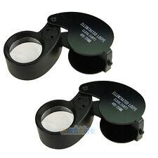 2x Glass LED Light 40x25mm Magnifying Magnifier Jeweler Eye Jewelry Loupe Black