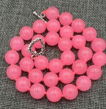 12mm Pink Chalcedony Round Gemstones Necklace 18'' Tibetan silver love clasps