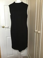 Nine West Size 14 BLACK Lined sleeveless warm fabric lined Dress Zipped back New