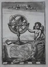 Antiguo Original impresión Zodiac, proyectada Esfera, mapa del mundo, A.M. Mallet, 1683