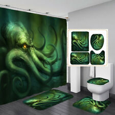 Green Octopus Non-Slip Bath Mat Toilet Cover Rugs Shower Curtain Bathroom Decor