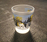 """Minnesota Shot Glass with Wolves in the Forest Howling at the Moon 2 3/8"""" Tall"""