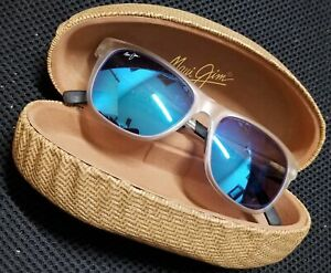 Maui Jim's Frosted Crystal Tail Slide Classic Blue Mirrored Polarized Sunglasses