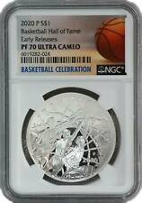 2020 $1 Basketball Silver Dollar Hall Of Fame Ngc Pf70 Ucam Early Releases .999