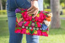 Pom Poms Tribal Clutch Bags Ethnic Hmong Embroidered Fair Trade