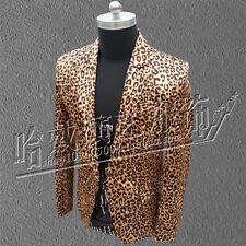 Mens Leopard Suit Blazer Bar Coat Slim Fit Jacket Formal Lapel Nightclub Tops