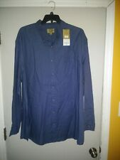 NWT Foundry Comfort Stretch Mens 4XL Long Sleeve SOLID BLUE Collar Shirt Cotton
