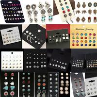 Women Rhinestone Crystal Pearl Ear Stud Earrings Set Fashion Jewelry Gift